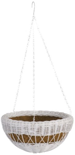 DMC Products 17-Inch Resin Wicker Hanging Basket with Chain Hanger, White (Wicker Planter Traditional)