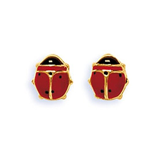 DIAMANTLY Boucles d'oreilles coccinelle rouge or 750
