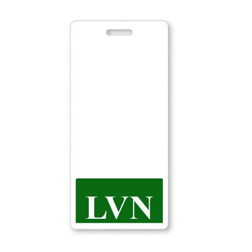 """""""LVN"""" Vertical Nurse ID Badge Buddy with Green Border by Specialist ID, Packaged / Sold Individually"""
