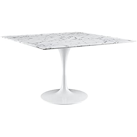 Modway Lippa Square Marble Dining Table 48 White