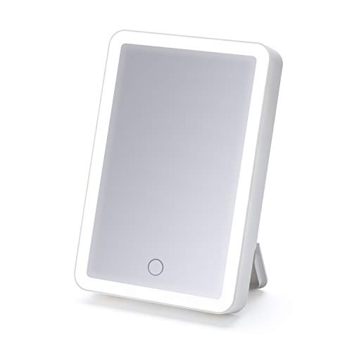 iHome Portable 6″ X 8″ Lighted LED Vanity Mirror, Portable Makeup Mirror, with Bluetooth Audio, Speakerphone, Built in Battery for Travel Or On The Go! iCVBT1 (White)