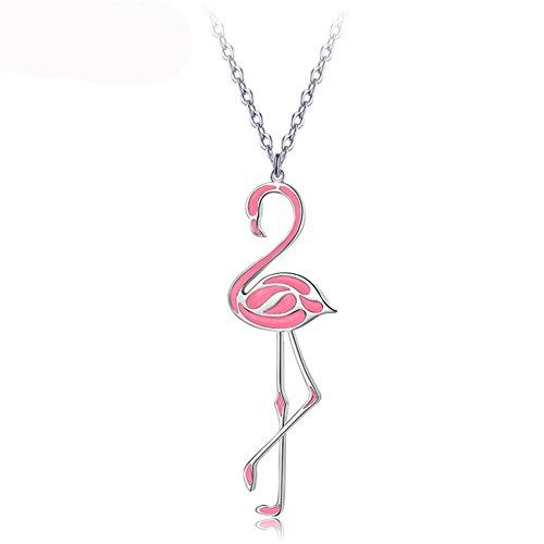 CHUYUN Trendy Metal Chain Pink Enamel Flamingos Pendant Necklace for Women Girls Chain Fashion Jewelry (Pink)