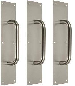3//4 Pull Diameter Rockwood 107 X 70C.32D Stainless Steel Pull Plate 8 Center-to-Center Handle Length Satin Finish 3- 16 Height x 4 Width x 0.050 Thick Pack