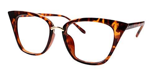 SOOLALA Womens Quality Readers Stylish Oversized Cat Eye Custom Reading Glasses, Leopard, 1.0x