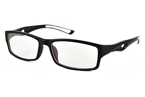 Plain Lens (Beison Sports Optical Eyeglasses Frame Plain Glasses Clear Lens UV400 (Matte black, 53mm))