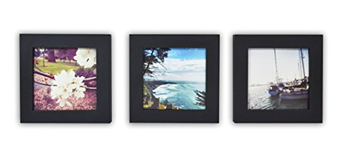 Golden State Art, Smartphone Instagram Frame Collection, Set of 3, 4x4-inch Square Photo Wood Frames, Black
