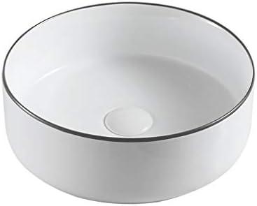 BoPin バスルームの洗面台、(タップ無し)カウンタ流域ホームバルコニー単一流域上記ラウンドセラミック洗面化粧台、3つのサイズの数 ベッセルシンクシンク (Size : 36.5X36.5X13cm)
