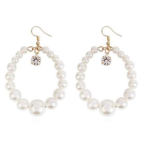 LOSOUL Pearl Stud Earrings Drop Dangle Heart Earrings White Seashell Pearl Dangle Earrings