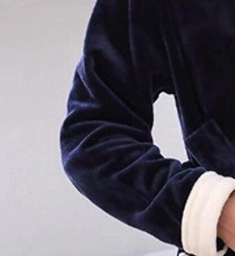 Moda Casa Uomo Tinta Caldo Notte Abito E Unita Cappotto Servizio Lungo Inverno Sauna Blu Accappatoio Autunno Vestaglia Spessore Da Pigiama S8pqqRB