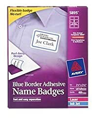 This pack of 400 Blue Border Avery Superior Name Badge Labels moves with your clothing, making them the perfect name tag stickers that will stick securely and not fall off. Featuring an innovative Peel-Away design, these premium name tag labe...