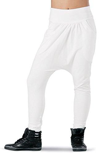 Balera Urban Groove Skinny Harem Dance Pants White Adult Large