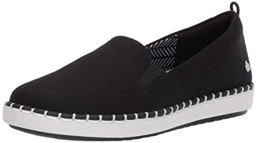 CLARKS Women's Step Glow Slip Loafer Flat, Black Canvas, 085 M US -