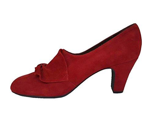Tacón Mujer Gennia XARRUX Rojo Guinda con Lazo con Piel Ante Talla Cerrada y 38 Zapatos para Punta de xrXtwqXA