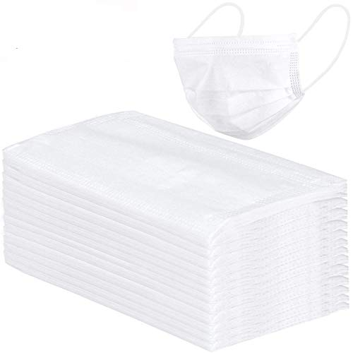 All White Mask (100 Pcs Disposable Surgical Flu Face Masks, 3-Ply Thicker Super Filter Pollen Dust, Anti Allergy Dental Medical Procedure Mask)