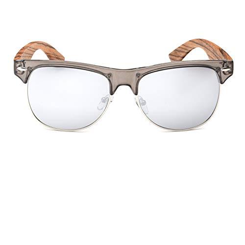 Ablibi Bamboo Wood Semi Rimless Sunglasses with Polarized Lenses in Original Boxes (Zebra Wood, Silver) by ABLIBI (Image #3)