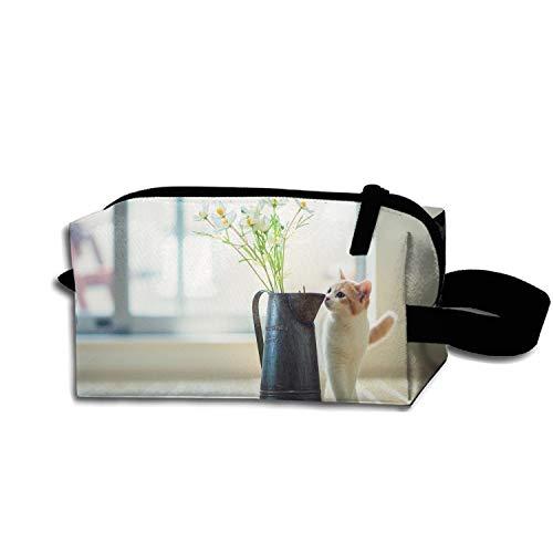 Kitten Vase Flowers Parquet Toiletry Kit for Men and Women Multifunction Case