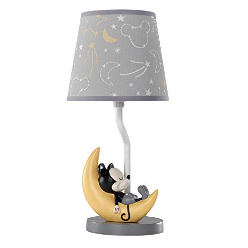 Lamb & Ivy Disney Baby Mickey Mouse Lamp with Shade & Bulb, Gray/Yellow