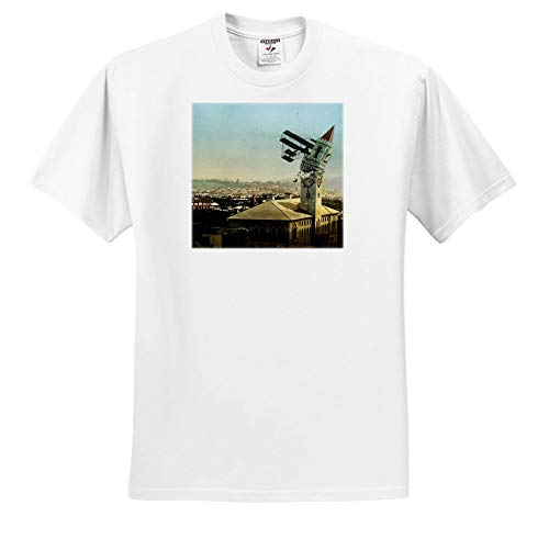 Scenes from The Past - Magic Lantern - Dangers of Early Flight Biplane Chrashing into a Building Vintage - T-Shirts - Adult T-Shirt 4XL (ts_301249_7) ()