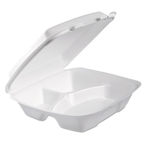 Dart Foam Hinged Lid Container, 3-Comp, 9 x 9 2/5 x 3, White, 100/Bag, 2 ()