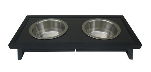 Adjustable Height Double Diner - New Age Pet ecoFLEX Adjustable Height Double Dog Bowl Small-Espresso