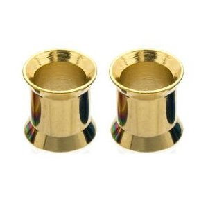 2g Titanium Double Flared Gold Tone Funnel Earlet Fashion Ear Plug