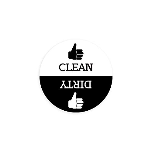 Dishwasher Magnet Clean Dirty Sign - Round Black & White Refrigerator Magnets (Thumbs Up/Thumbs Down - Regular) - Funny Housewarming Gifts by Flexible Magnets]()