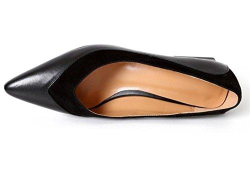 Mujer Puntiagudo Dedo del pie Cuadrado Medio Tacón Cuero Zapatillas Soltero Corte Zapatos Negro marrón Primavera Verano Trabajo Fiesta Vestir Black