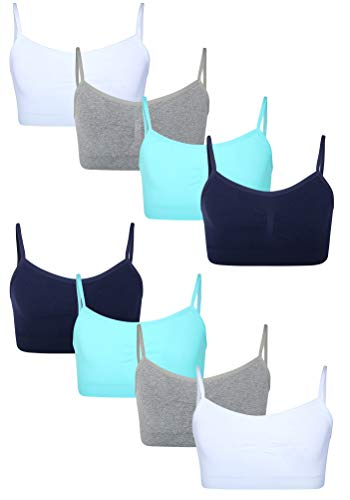 Sweet Princess Girls Nylon/Spandex Seamless Training Bra (8 Pack) (Blue Rain, Large / 14-16)'