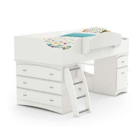 Imagine Collection Twin Loft Bed with Storage - Pure White by South Shore (White Queen Bed With Drawers Underneath)
