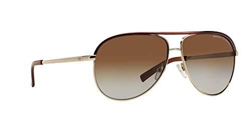 Armani Exchange Metal Unisex Polarized Aviator Sunglasses, Light Gold/Dark Brown, 61 mm by A X Armani Exchange (Image #12)