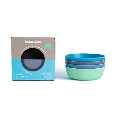 Bobo&Boo Bamboo Kids Bowls, Set of 4 Eco Friendly Toddler Bowls :: Non Toxic & Kid Safe Dishes for Cereal & Soup :: Mix and Match :: Great Gift for Baby Showers & Birthdays, Coastal (Best Milk To Grow Taller)