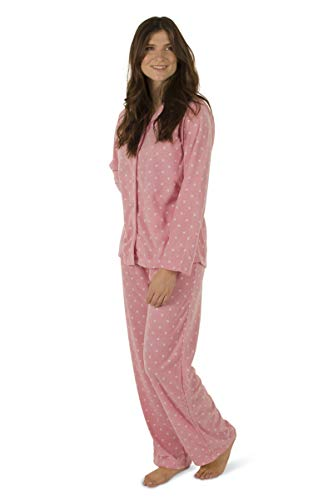 Totally Pink Women's Warm and Cozy Plush Fleece Winter Two Piece Pajama Set Teen and Girls (Large, Pink Polka Dot)