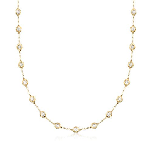 Ross-Simons 5.00 ct. t.w. Bezel-Set Diamond Station Necklace in 14kt Yellow Gold ()