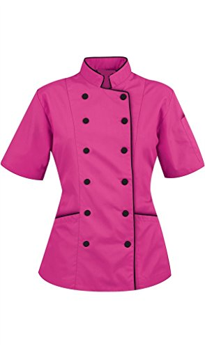 Chef Apparel Short Sleeves only Women's Ladies Chef's Coat Jackets M (for Bust 36-37), Pink