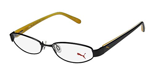 Puma 15357 Pico Mens/Womens Cat Eye Spring Hinges Classic Shape Durable TIGHT-FIT Designed For Jogging/Cycling/Sports Activities Eyeglasses/Eyeglass Frame (50-16-135, Black/Yellow) (Brille Cat Eye)
