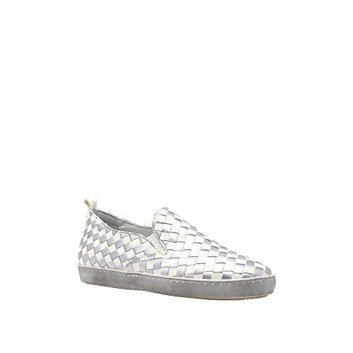 Laura Bellariva Silver/White Leather Woven Slip On Size 39 eBRaUm8