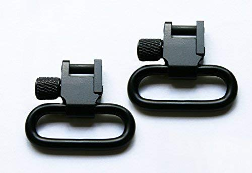Detroit Leather Shop Pair of Black 1 Inch Tri-Lock Rifle Sling Swivels