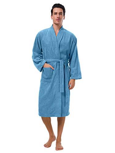 (SIORO Mens Robe, Kimono Terry Cotton Bathrobe, Soft Sleepwear for Bath Spa Blue XL)