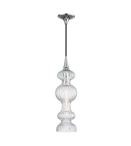 - Hudson Valley Lighting 1600-PN-CL Pomfret 1 Light Pendant, Polished Nickel