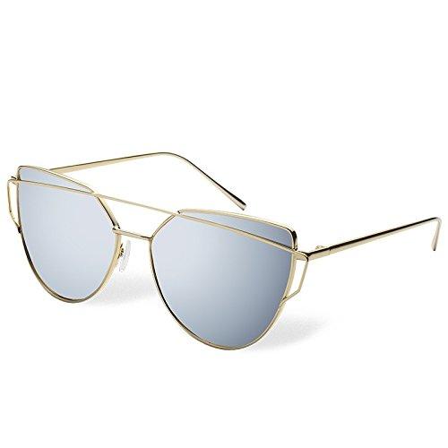 gold Mujer gold de Lente sesgada en Moda Vidrio Sunglasses Gato Gafas metálico de Doble de Oro fotograma de en lens de Puente Sol TL Ojo frame Diseño xn0gqawUU4