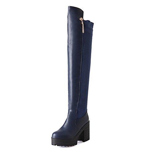 Blue Women's Materials High on Pull High Blend Boots Heels Allhqfashion Solid top PnaxTHnSw
