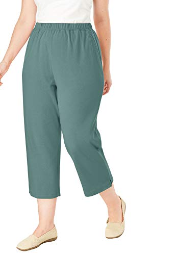 Woman Within Women's Plus Size 7-Day Knit Capri - Antique Teal, L