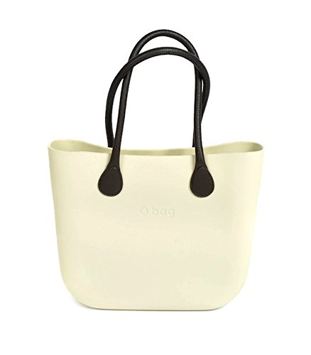 Italian O Bag Classic in Ivory with Brown Long Eco Leather Handles