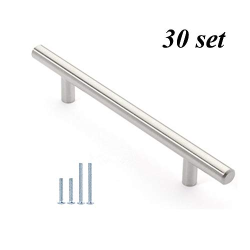 12mm Stainless Steel Kitchen Cabinet Handles T Bar Pull (8 Inches), 30 Pack
