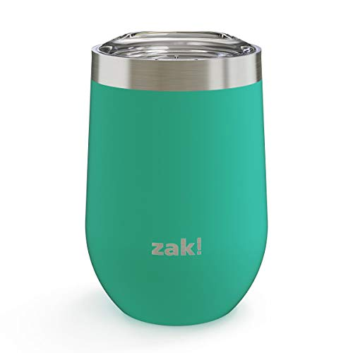 Zak Designs Pallisades Stainless Steel Double Wall Vacuum Insulated Travel Wine Tumbler with Slide Lid and Leak-Proof Design Water Bottle is Perfect for Outdoor Activity (11.5oz, Tropic,18/8,BPA Free)