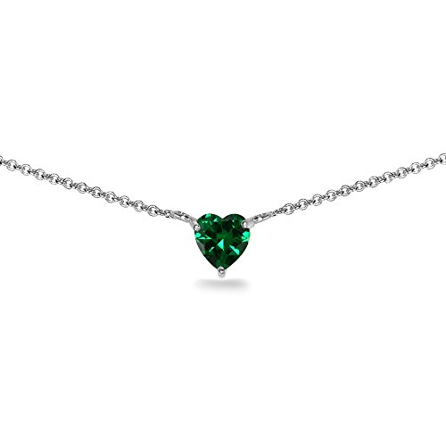 (Sterling Silver Simulated Emerald 7x7mm Heart Shaped Dainty Choker Necklace)