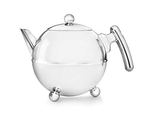 (bredemeijer Bella Ronde Double Walled Teapot, 1.2-Liter, Stainless Steel Glossy Finish with Chromium Settings)