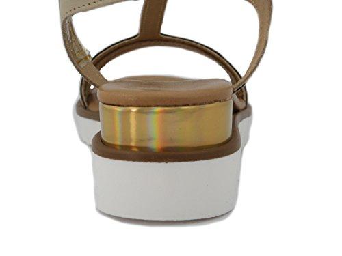Osvaldo Fiori Di beige E17 Pelle Mercante Zeppa Bicolore 4cm In Platino Pericoli W670 Sandalo ryzSOR4r