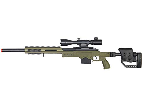Well Full Metal MB4410 Airsoft Spring Sniper Rifle W/ 4-16X50MM TRI-Rail TED Rifle Scope - OD Green ()