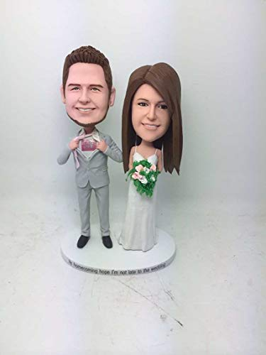 Custom Bobble Head Personalized Wedding Cake Topper Clay Figurines Based on Customers' Photo Wedding Topper Wedding Gifts Wedding Decoration (Custom Head Bobble 2)